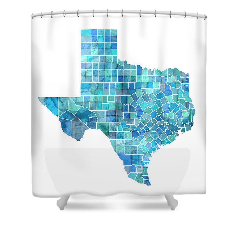 United States Map Shower Curtain Featuring The Digital Art Texas Watercolor By Michael Tompsett