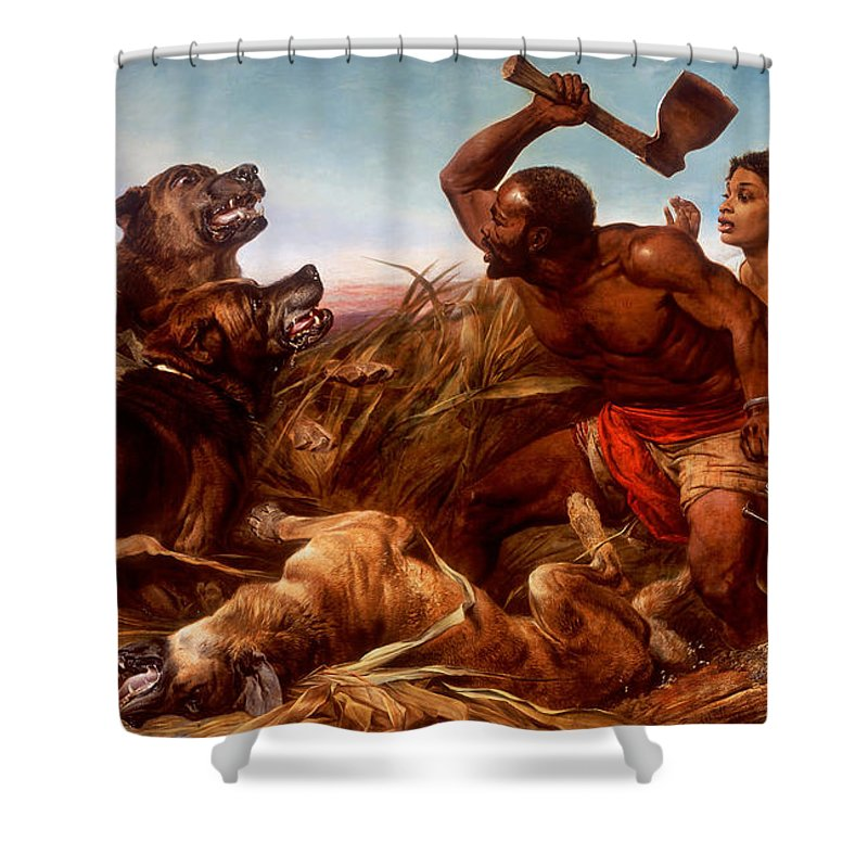 Richard Ansdell - The Hunted Slaves Shower Curtain featuring the painting The Hunted Slaves by Richard Ansdell