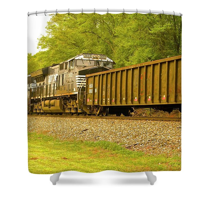 Train Norfolk Shower Curtain featuring the photograph Train by Frank Conrad