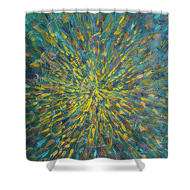 Abstract Shower Curtain featuring the painting Untitled by Dean Triolo