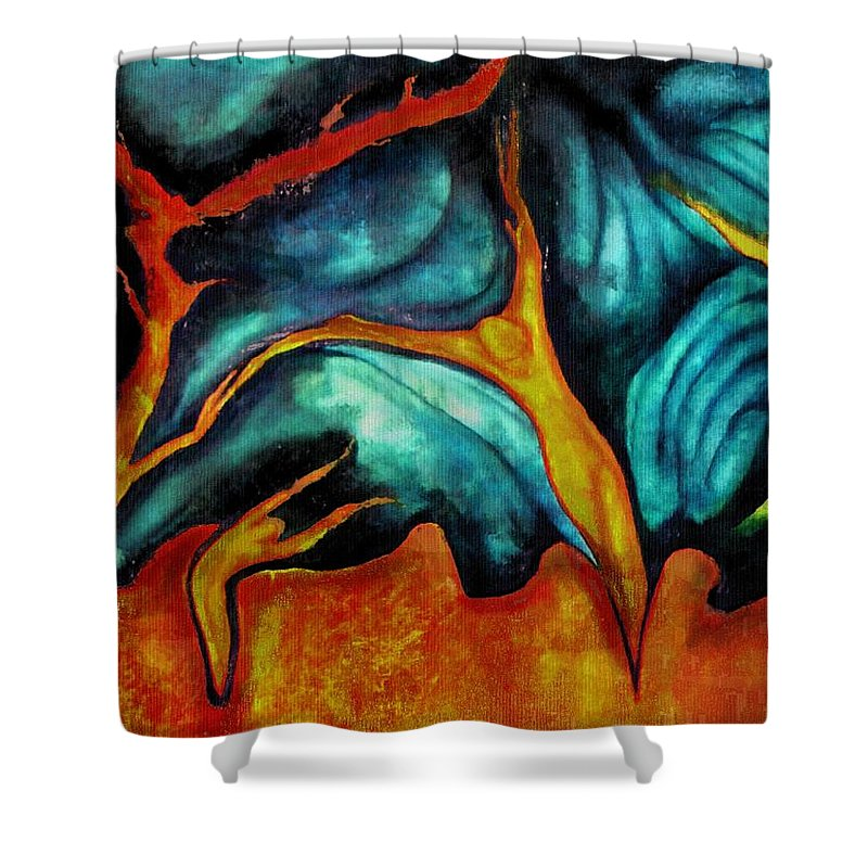Soul Expression Words Thoughts Mind Connection Shower Curtain featuring the painting Untitled by Veronica Jackson