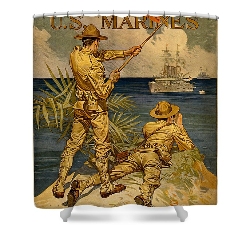 Vintage Shower Curtain featuring the painting Vintage Recruitment Poster by Vintage Pix