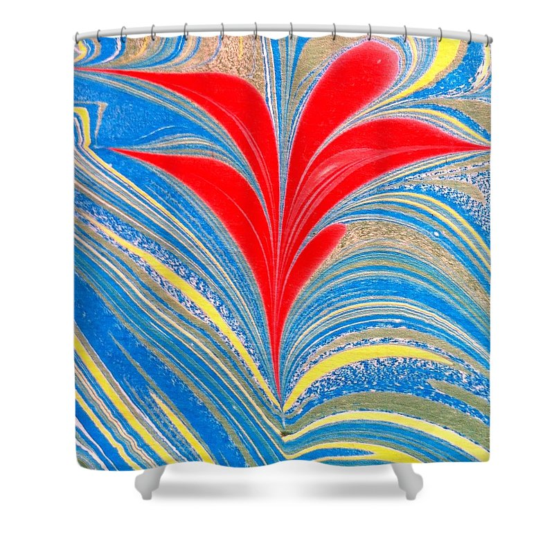 Flower Shower Curtain featuring the painting Water Marbling Art, Ebru by Dilan C