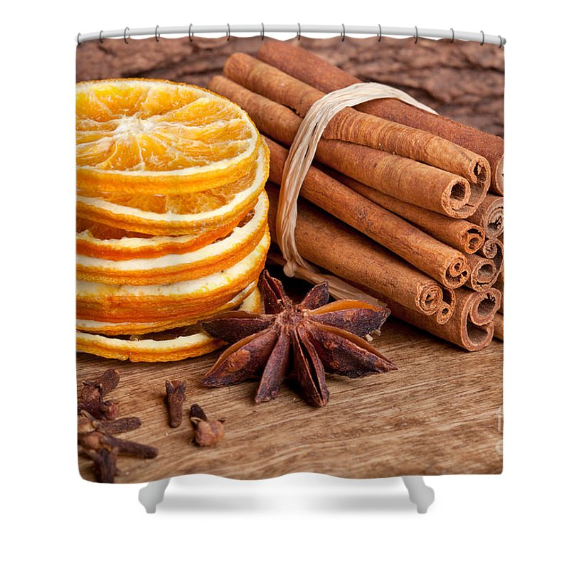 Cinnamon Shower Curtain featuring the photograph Winter Spices by Nailia Schwarz