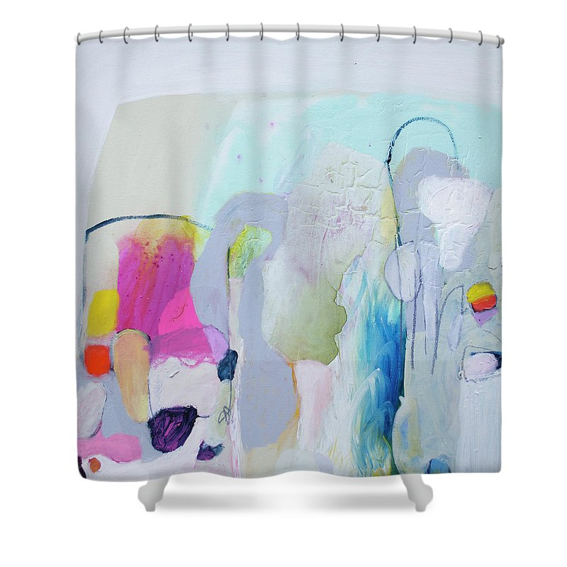 Abstract Shower Curtain featuring the painting 4 Years Ago by Claire Desjardins