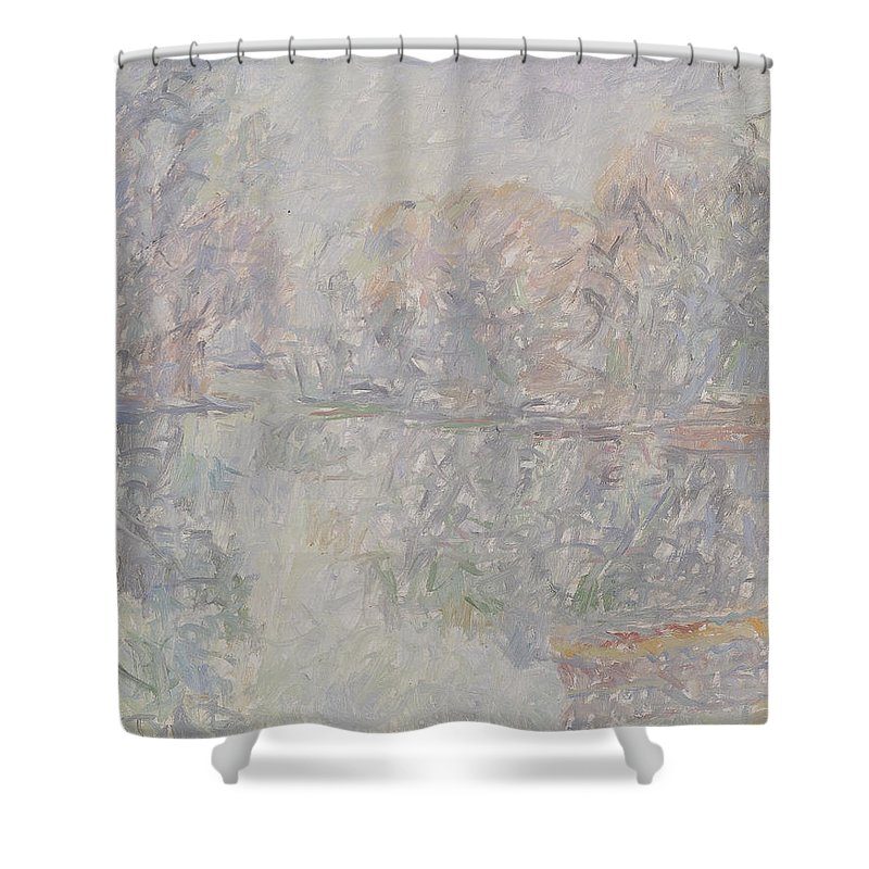 Bay Shower Curtain featuring the painting River by Robert Nizamov