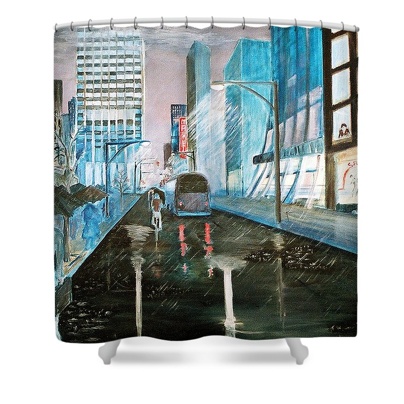 Street Scape Shower Curtain featuring the painting 42nd Street Blue by Steve Karol