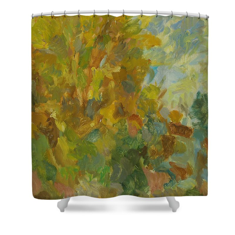 Street Shower Curtain featuring the painting Tree by Robert Nizamov