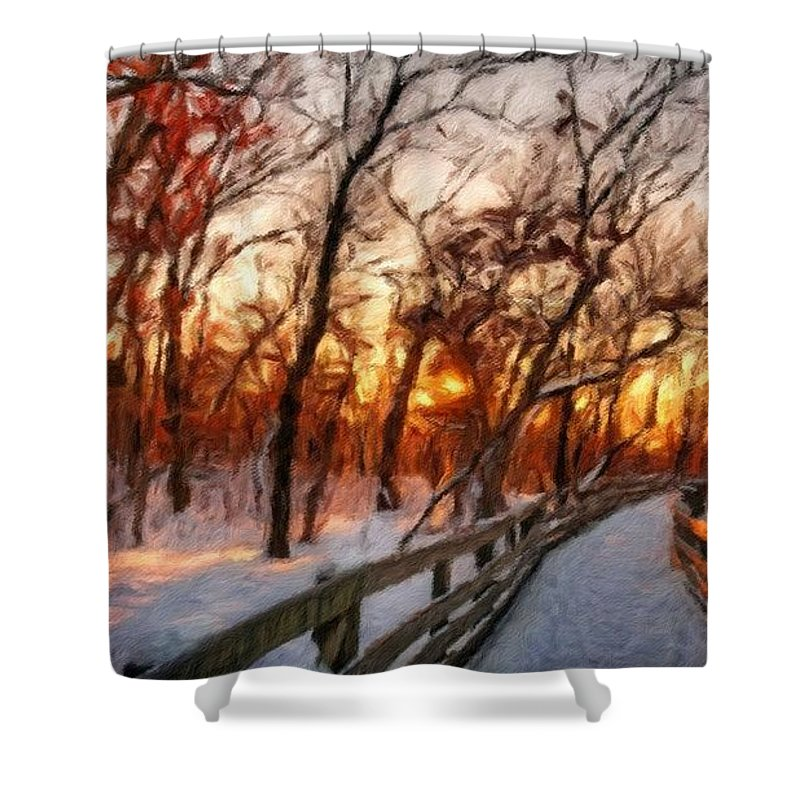 Acrylic Shower Curtain featuring the digital art Landscape Oil Painting by Usa Map