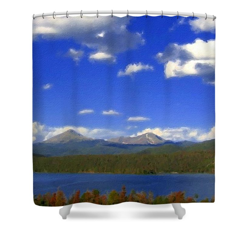 Landscape Shower Curtain featuring the digital art Landscape Oil Painting by Usa Map