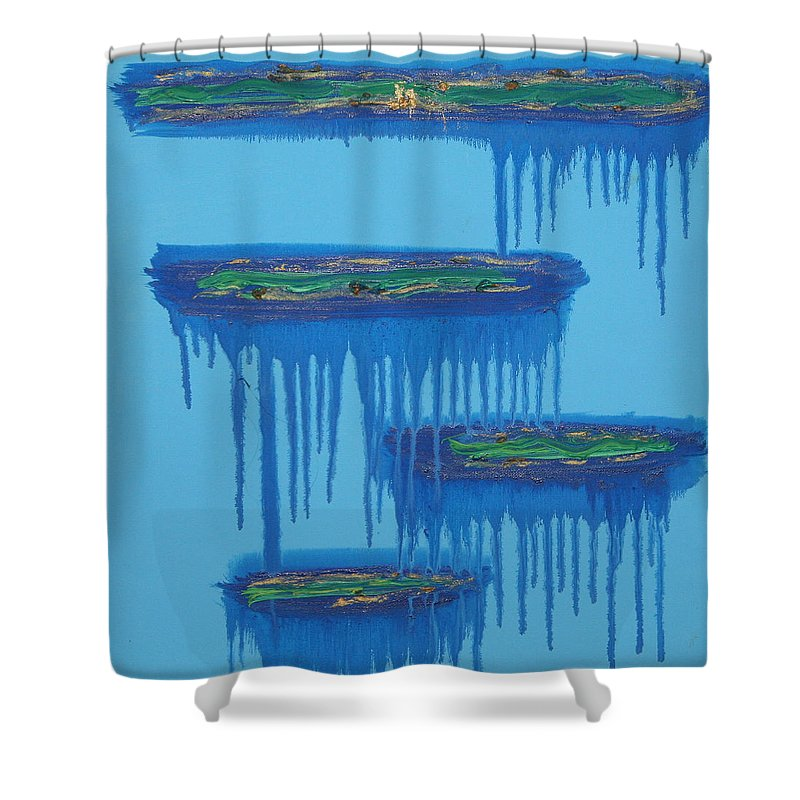 4 Levels Shower Curtain featuring the painting 4levels4fellings4you by Sitara Bruns