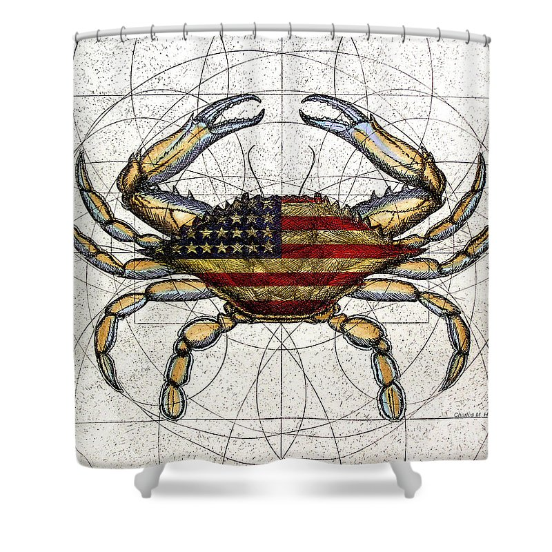 Charles Harden Shower Curtain Featuring The Mixed Media 4th Of July Crab By  Charles Harden