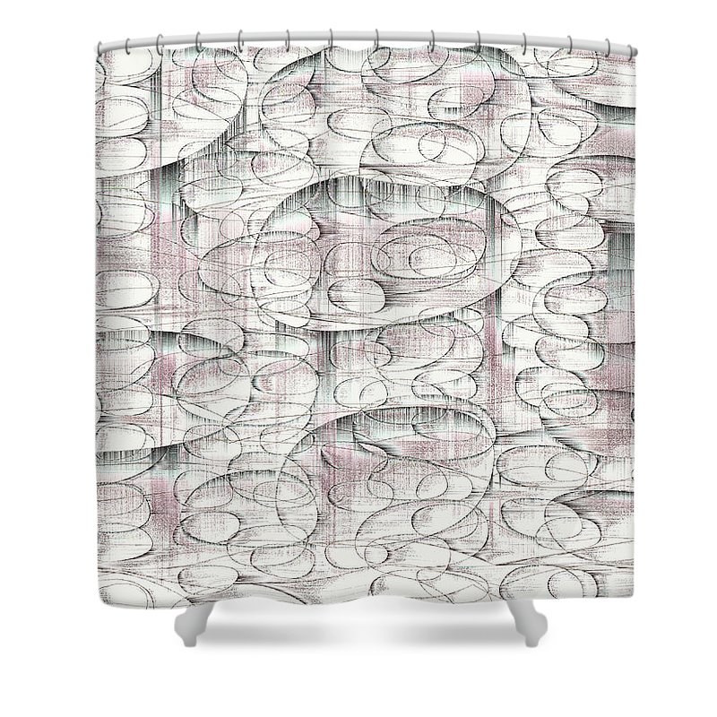 Rithmart Abstract Fade Fading Lines Organic Random Computer Digital Shapes Changing Colors Directions Fading Lines Roselle Shapes Shower Curtain featuring the digital art 4x3.45-#rithmart by Gareth Lewis
