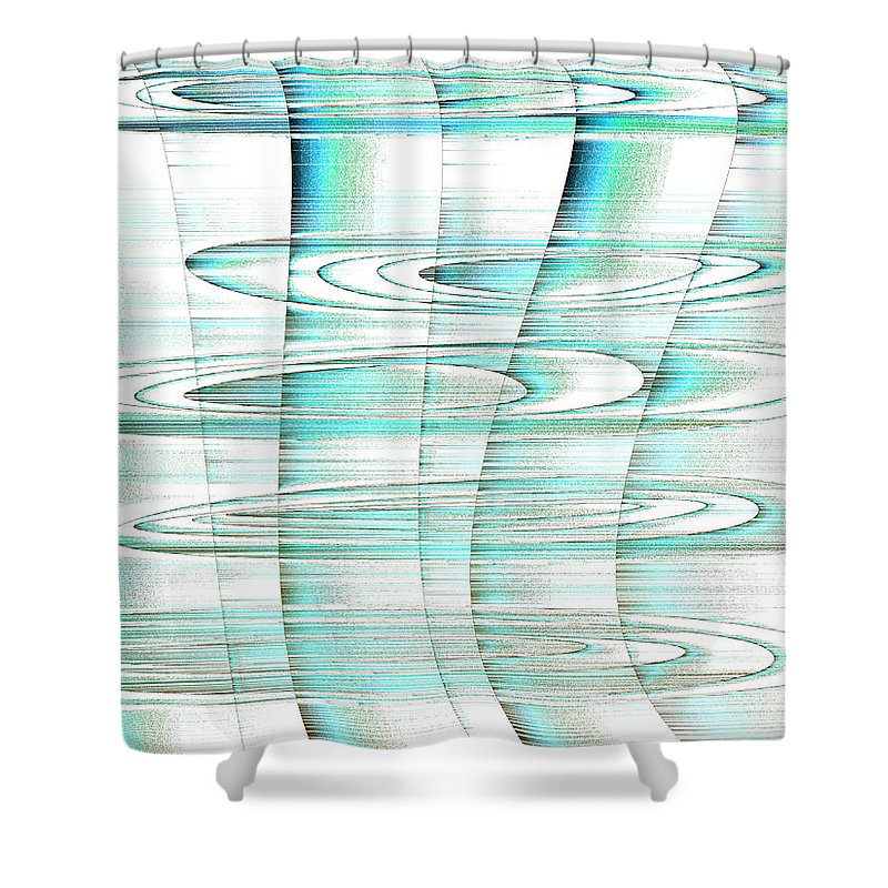 Rithmart Abstract Fade Fading Lines Organic Random Computer Digital Shapes Changing Colors Directions Egham Fading Lines Shapes Shower Curtain featuring the digital art 4x3.77-#rithmart by Gareth Lewis