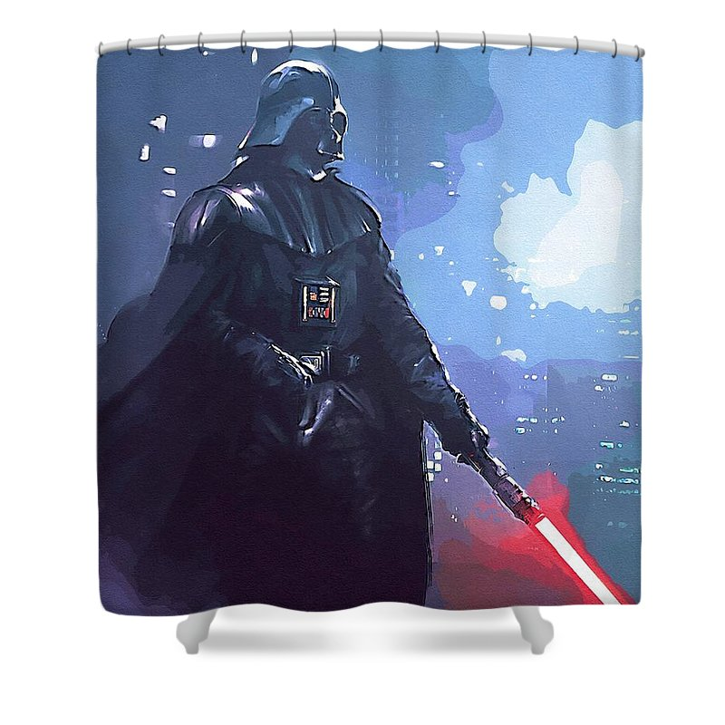 Star Wars Darth Vader Shower Curtain featuring the digital art A Star Wars Art by Larry Jones
