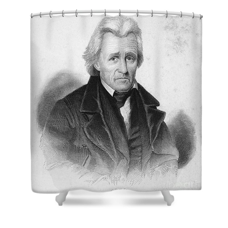 19th Century Shower Curtain featuring the photograph Andrew Jackson (1767-1845) by Granger