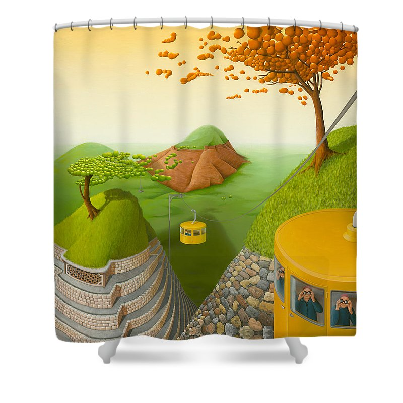Architecture Shower Curtain featuring the painting 5 Brothers by Patricia Van Lubeck