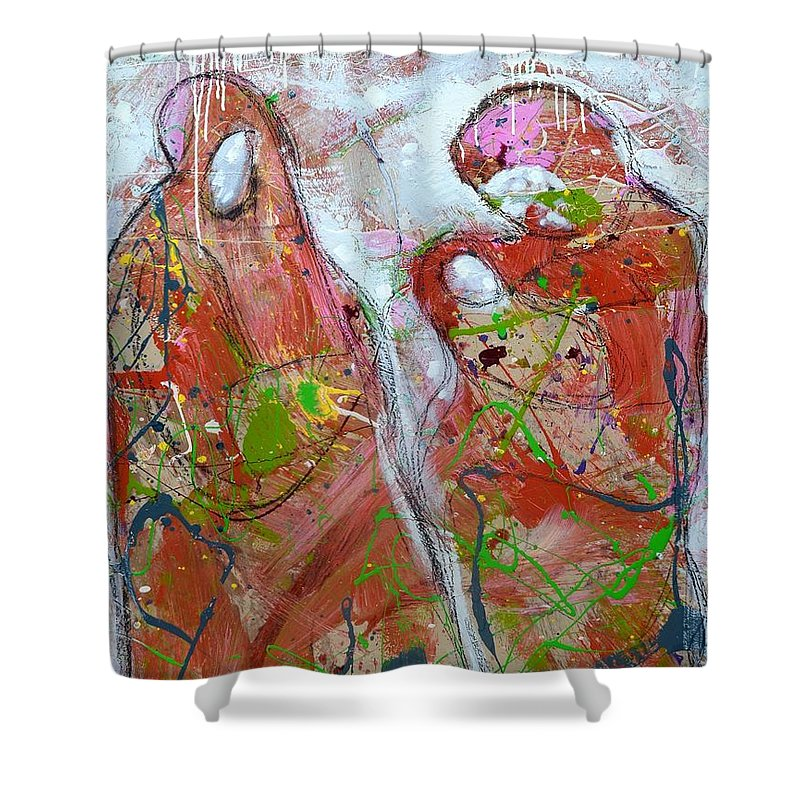 Figurative Shower Curtain featuring the painting Challenge 2017 Save Europe Www.gracedivine.com by Grace Divine