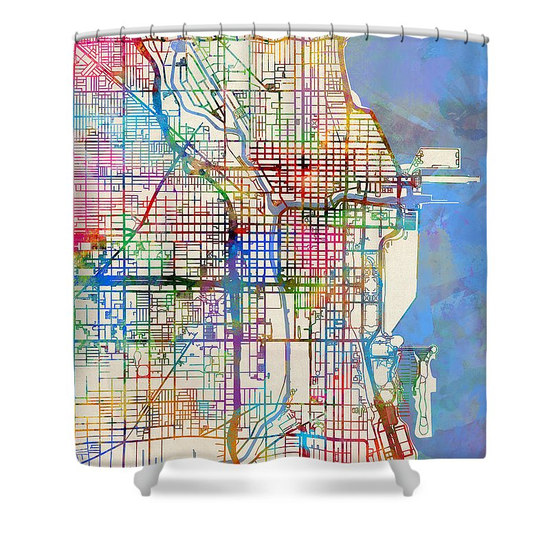 Chicago Map Streets.Chicago City Street Map Shower Curtain For Sale By Michael Tompsett