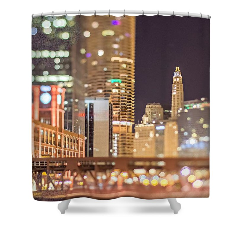 City Shower Curtain featuring the photograph Chicago Illinois Tilt Effect Cityscape At Night by Alex Grichenko