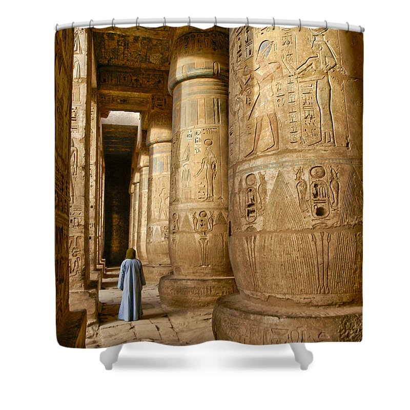 Egypt Shower Curtain featuring the photograph Colonnade In An Egyptian Temple by Michele Burgess