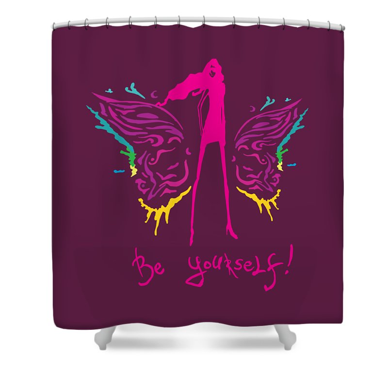 Girl Shower Curtain featuring the painting Girl With Angel Wings by Denis Simonov