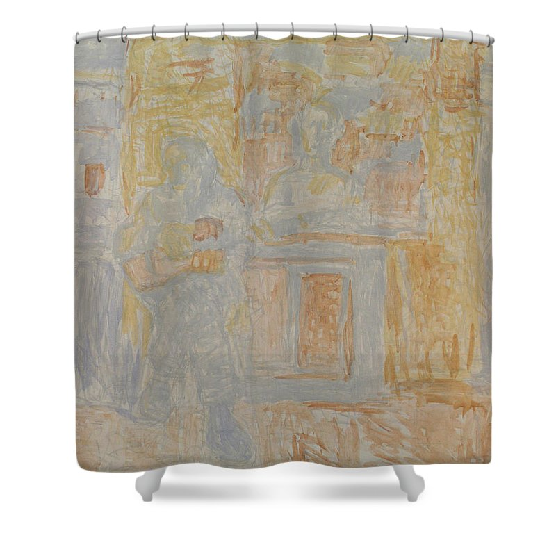 Portrait Shower Curtain featuring the painting Granddad by Robert Nizamov
