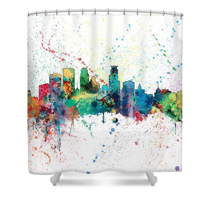 United States Shower Curtain featuring the digital art Minneapolis Minnesota Skyline by Michael Tompsett
