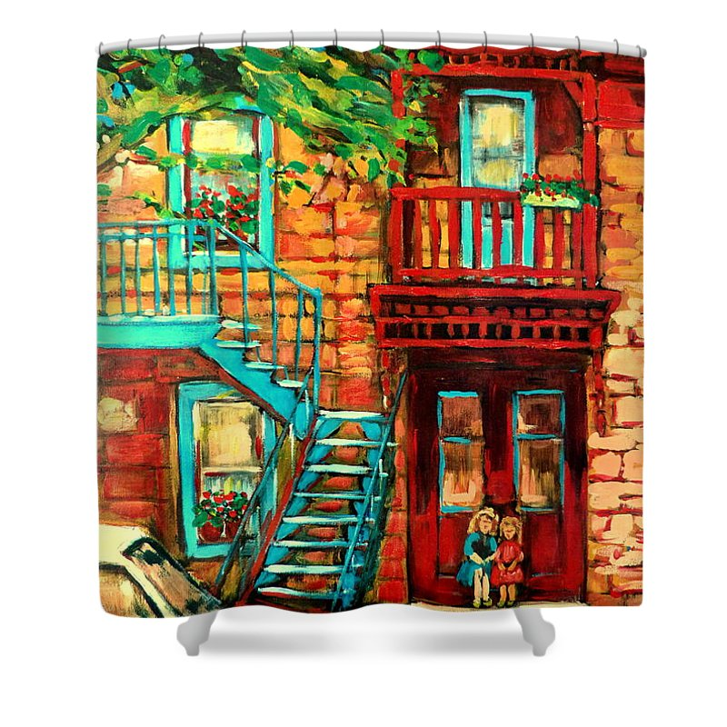 Montreal Paintings Shower Curtain featuring the painting Montreal Paintings by Carole Spandau
