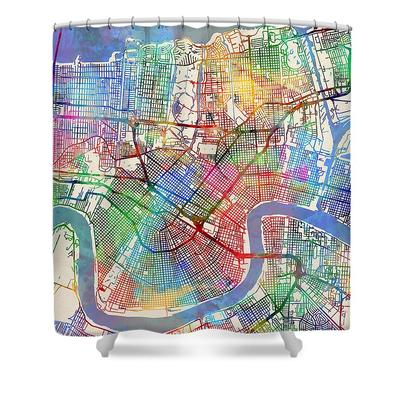 Watercolor Map Shower Curtains