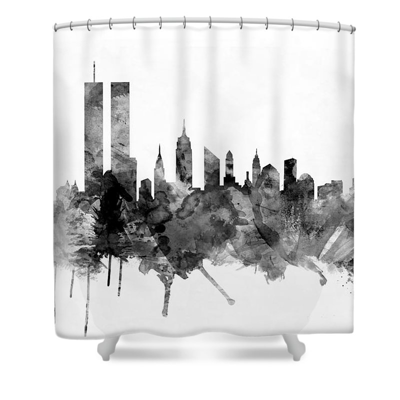 New York Shower Curtain Featuring The Digital Art City Skyline By Michael Tompsett