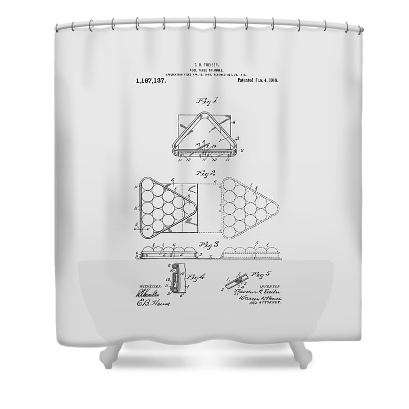 Pool Table Shower Curtain featuring the photograph Pool Table Triangle Patent From 1915 by Chris Smith