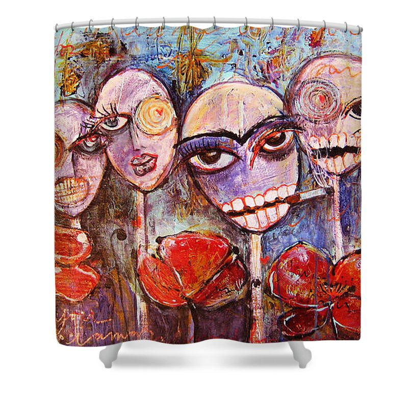 Dia De Los Muertos Shower Curtain featuring the painting 5 Poppies For The Dead by Laurie Maves ART