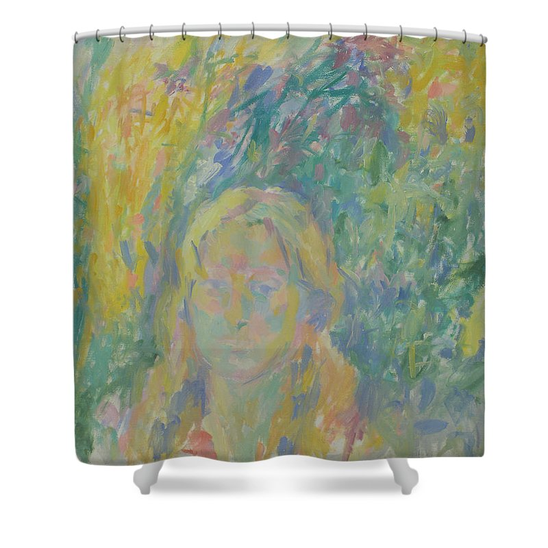 Park Shower Curtain featuring the painting Portrait by Robert Nizamov