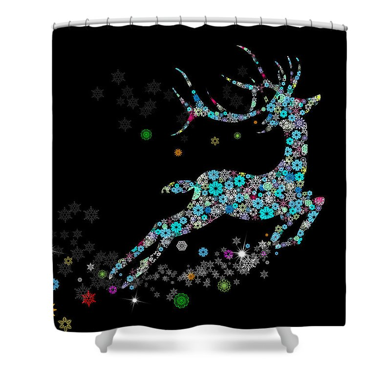 Animal Shower Curtain featuring the painting Reindeer Design By Snowflakes by Setsiri Silapasuwanchai