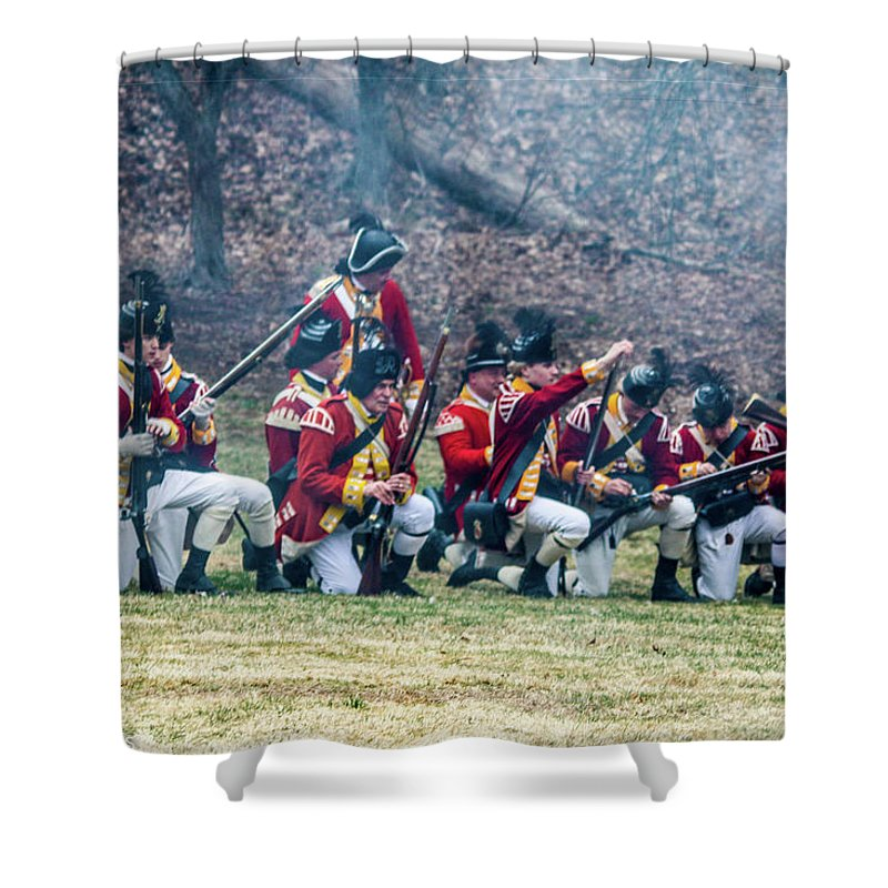 This Is A Line Of The Royal Army Reloading At Parker's Revenge Shower Curtain featuring the photograph Reloading by William Rogers