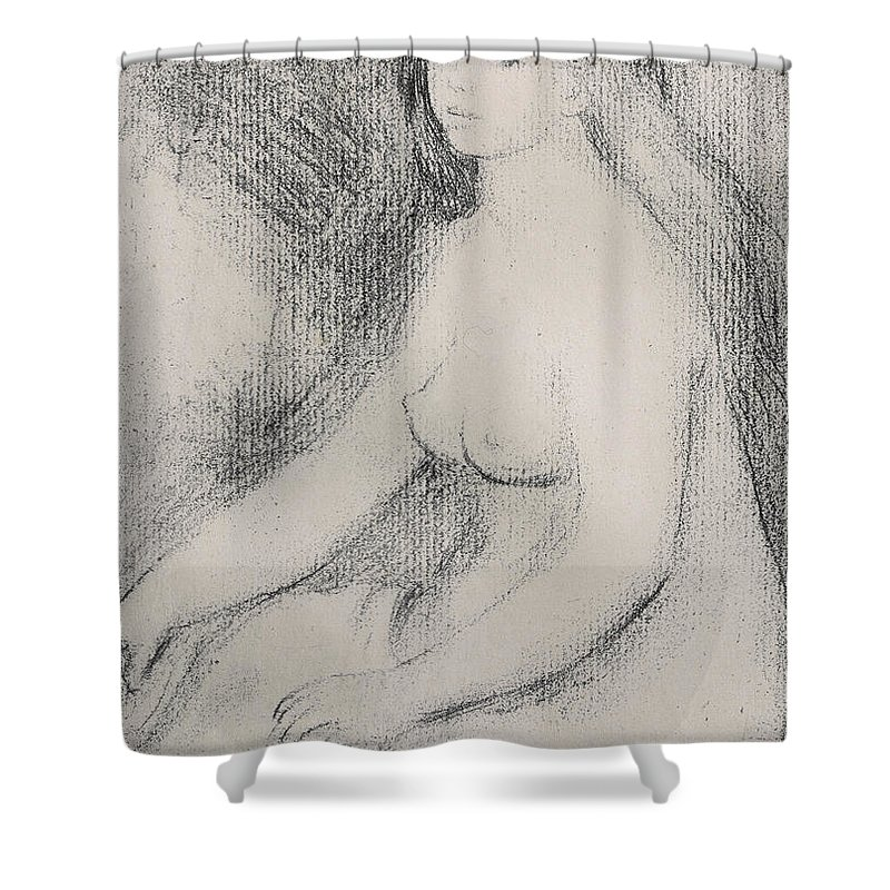 Renoir Shower Curtain featuring the drawing Seated Bather by Pierre Auguste Renoir