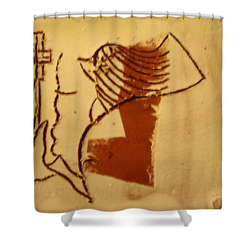 Jesus Shower Curtain featuring the ceramic art Sign - Tile by Gloria Ssali