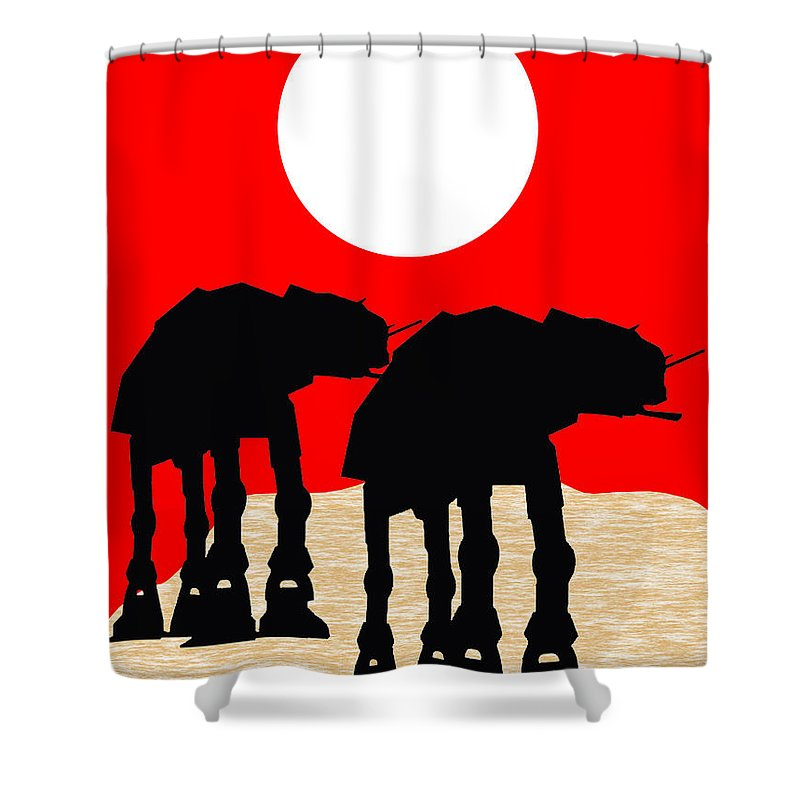 Atat Shower Curtain featuring the mixed media Star Wars At-at Collection by Marvin Blaine