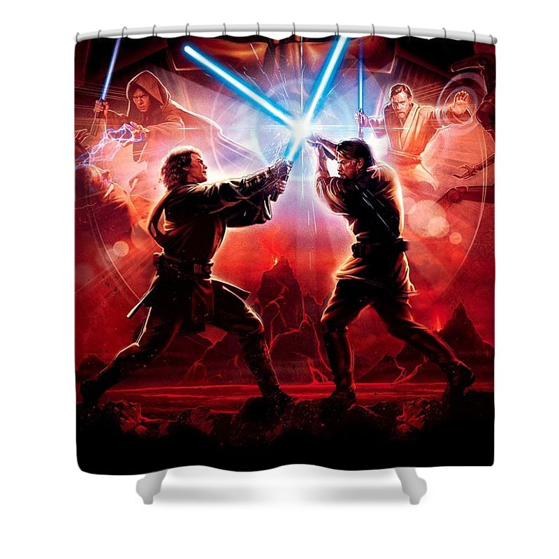 Star Wars Shower Curtain featuring the digital art Star Wars Episode III - Revenge of the Sith 2005 by Geek N Rock