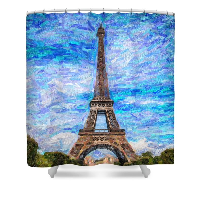 Landmark Shower Curtain featuring the pyrography The Eiffel Tower by Artistic Panda