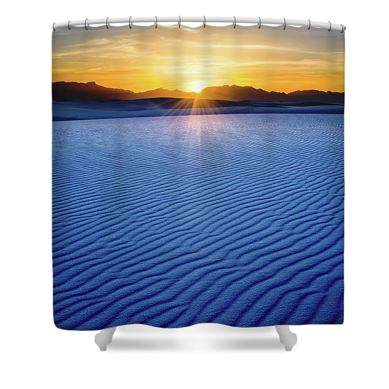 White Sands National Monument Shower Curtain featuring the photograph The Unique And Beautiful White Sands National Monument In New Mexico. by Jamie Pham