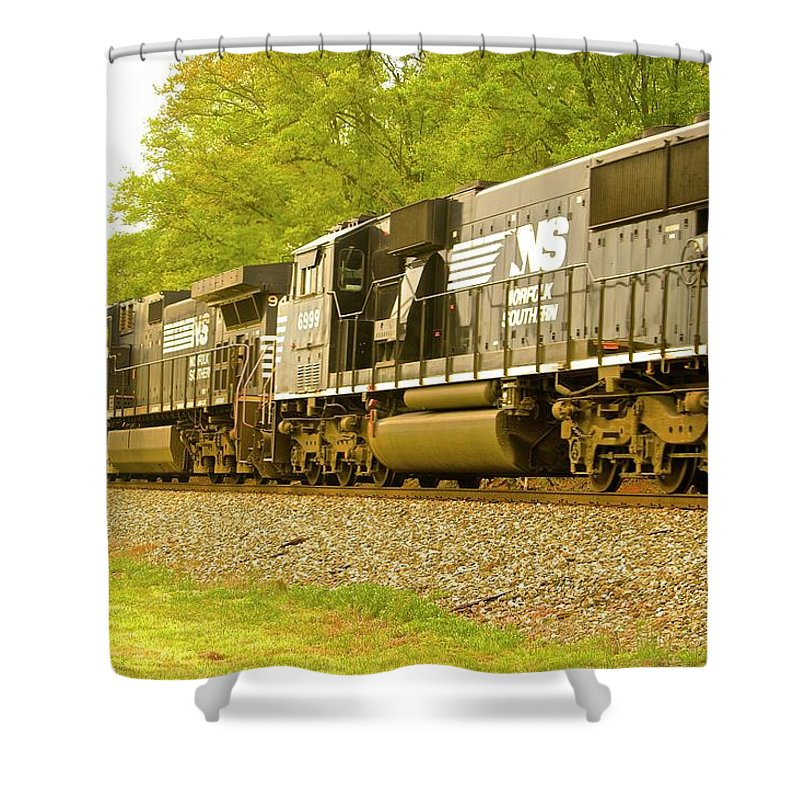 Train Norfolk Shower Curtain featuring the photograph Train by Frank Conrad