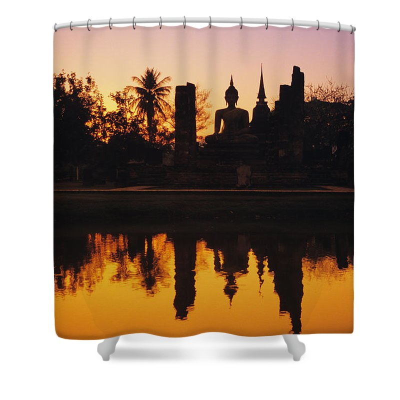 Ancient Shower Curtain featuring the photograph Wat Mahathat by Gloria & Richard Maschmeyer - Printscapes