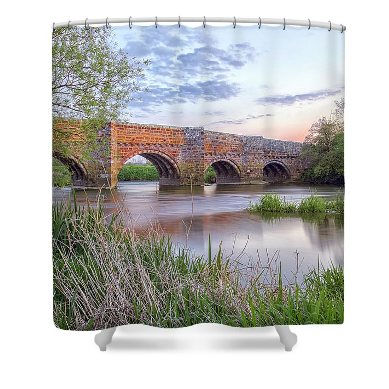 White Mill Bridge Shower Curtain featuring the photograph White Mill - England by Joana Kruse