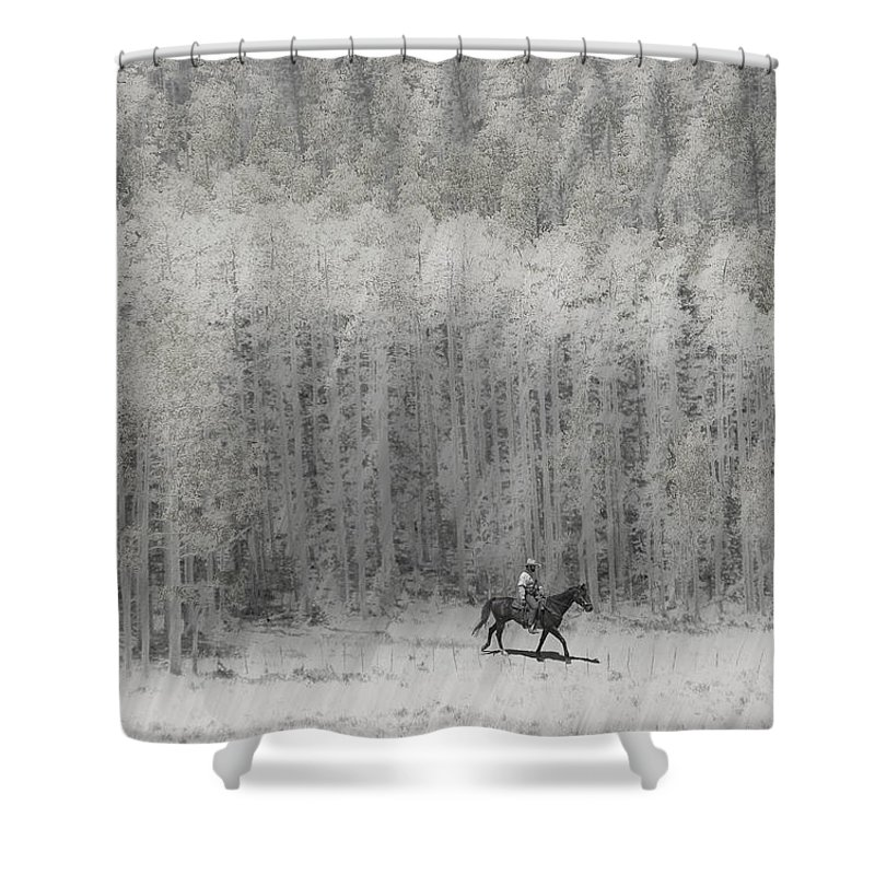 Cowboy Shower Curtain featuring the photograph 4147 by Peter Holme III