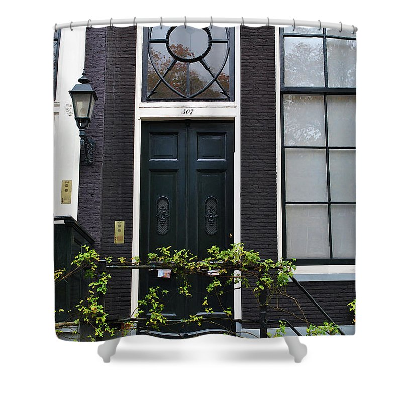 Amsterdam Shower Curtain featuring the photograph 507 Doors Of Amsterdam Green by Jost Houk