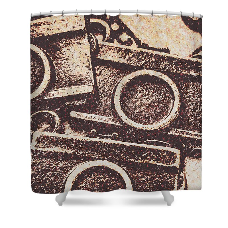 Background Shower Curtain featuring the photograph 50s Brownie Cameras by Jorgo Photography - Wall Art Gallery