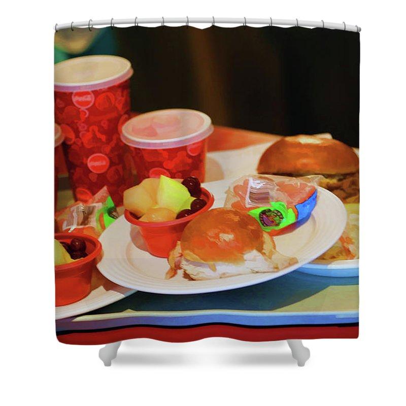 California Adventure Shower Curtain featuring the photograph 50's Style Food Malt Hamburger Tray by Chuck Kuhn