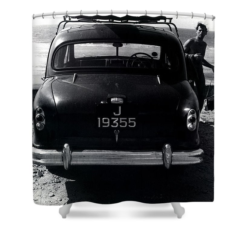 Surf Shower Curtain featuring the photograph 50's Surfer by Charles Stuart